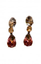 Indian Fashion Designers - Nine Vice - Contemporary Indian Designer - Maroon Foil Swarovski Earrings - NIV-AW17-A-E-11