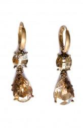 Indian Fashion Designers - Nine Vice - Contemporary Indian Designer - Light Gold Swarovski Earrings - NIV-AW17-A-E-12
