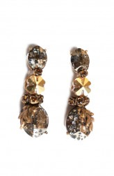 Indian Fashion Designers - Nine Vice - Contemporary Indian Designer - Tinted Gold Swarovski Earrings - NIV-AW17-A-E-16