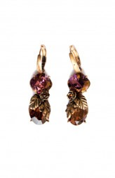Indian Fashion Designers - Nine Vice - Contemporary Indian Designer - Gold Tinted Purple and Brown Swarovski Earrings - NIV-AW17-A-E-18