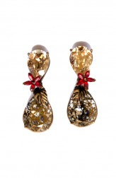 Indian Fashion Designers - Nine Vice - Contemporary Indian Designer - Light Gold and Red Swarovski Earrings - NIV-AW17-A-E-19