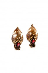 Indian Fashion Designers - Nine Vice - Contemporary Indian Designer - Light Gold Red Swarovski Earrings - NIV-AW17-A-E-2