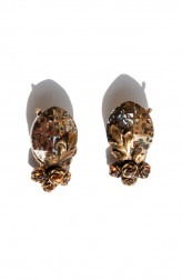 Indian Fashion Designers - Nine Vice - Contemporary Indian Designer - Pink Gold Swarovski Torn Leaf Earrings - NIV-AW17-A-E-3