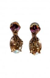 Indian Fashion Designers - Nine Vice - Contemporary Indian Designer - Gold Tinted Purple Swarovski Earrings - NIV-AW17-A-E-7