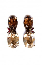 Indian Fashion Designers - Nine Vice - Contemporary Indian Designer - Brown Red Swarovski Earrings - NIV-AW17-A-E-8