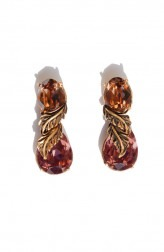 Indian Fashion Designers - Nine Vice - Contemporary Indian Designer - Maroon and Brown Swarovski Earrings - NIV-AW17-A-E-9