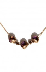 Indian Fashion Designers - Nine Vice - Contemporary Indian Designer - Gold Tinted Purple Swarovski Necklace - NIV-AW17-A-P-5