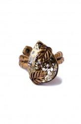 Indian Fashion Designers - Nine Vice - Contemporary Indian Designer - Gold Patina Swarovski Ring - NIV-AW17-A-R-1