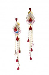 Indian Fashion Designers - Nine Vice  - Contemporary Indian Designer - Lady Rouge Earrings - NIV-AW16-MR-E-1