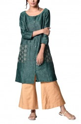 Indian Fashion Designers - PaaR - Contemporary Indian Designer - Lovely Green Tunic - PAR-AW16-TLFB018
