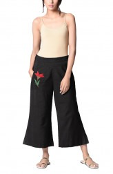 Indian Fashion Designers - Paar - Contemporary Indian Designer - Black Cotton Trousers - PAR-AW16-BCF020