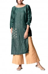 Indian Fashion Designers - Paar - Contemporary Indian Designer - Green Asymmetrical Tunic - PAR-AW16-TLB008G