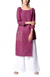 Indian Fashion Designers - Paar - Contemporary Indian Designer - Plum Asymmetrical Tunic - PAR-AW16-TLB008P
