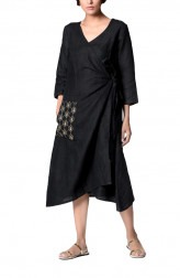 Indian Fashion Designers - Paar - Contemporary Indian Designer - Black Wrap Dress - PAR-AW16-TLB011