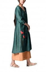 Indian Fashion Designers - Paar - Contemporary Indian Designer - Green Embroidered Dress - PAR-AW16-TLB013