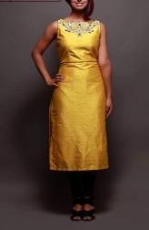 Indian Fashion Designers - Prisha by Shivesh - Contemporary Indian Designer - Chic Mustard Tunic Set - PRSH-AW16-Swasti-07