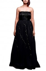 Indian Fashion Designers - Prisha by Shivesh - Contemporary Indian Designer - Black Tube Cocktail Gown - PRSH-AW16-Swasti-17