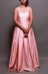 Indian Fashion Designers - Prisha by Shivesh - Contemporary Indian Designer - Berry Pink Pleated Gown - PRSH-AW16-Swasti-19