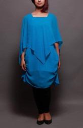 Indian Fashion Designers - Prisha by Shivesh - Contemporary Indian Designer - Sky Blue Drape Tunic - PRSH-AW16-Verv-14