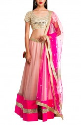 Indian Fashion Designers - Priti Sahni - Contemporary Indian Designer - Nude and Pink Lehenga - PRS-AW16-PSL115