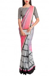 Indian Fashion Designers - Priti Sahni - Contemporary Indian Designer - Grey and Pink Half and Half Saree - PRS-AW16-PSS325