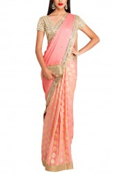 Indian Fashion Designers - Priti Sahni - Contemporary Indian Designer - Blush Pink Half and Half Saree - PRS-AW16-PSS401
