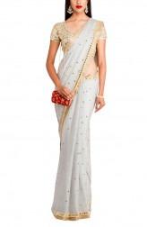 Indian Fashion Designers - Priti Sahni - Contemporary Indian Designer - Grey Shimmer Saree - PRS-AW16-PSS414
