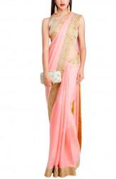 Indian Fashion Designers - Priti Sahni - Contemporary Indian Designer - Blush Pink Shimmer Saree - PRS-AW16-PSS415