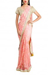 Indian Fashion Designers - Priti Sahni - Contemporary Indian Designer - Pretty Pink Chantiilly Saree - PRS-AW16-PSS424