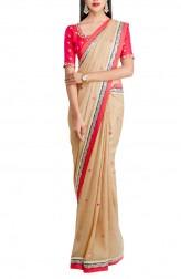 Indian Fashion Designers - Priti Sahni - Contemporary Indian Designer - Copper Shimmer Saree - PRS-AW16-PSS427