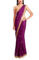 Indian Fashion Designers - Priti Sahni - Contemporary Indian Designer - Deep Wine Saree - PRS-AW16-PSS430
