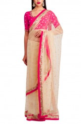 Indian Fashion Designers - Priti Sahni - Contemporary Indian Designer - Nude Net Saree - PRS-AW16-PSS434
