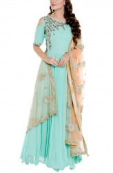 Indian Fashion Designers - Priti Sahni - Contemporary Indian Designer - Mint Green Georgette Anarkali - PRS-AW17-PSL203