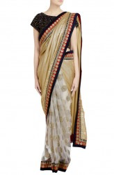 Indian Fashion Designers - Priti Sahni - Contemporary Indian Designer - Half Golden Sequin Net Saree - PRS-SS17-PSS443