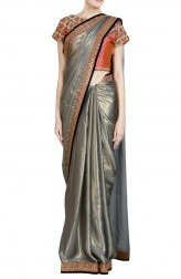 Indian Fashion Designers - Priti Sahni - Contemporary Indian Designer - Shimmer Grey Gota Detailed Saree - PRS-SS17-PSS444