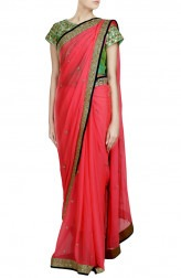 Indian Fashion Designers - Priti Sahni - Contemporary Indian Designer - Gota Detailed Peach Saree - PRS-SS17-PSS446
