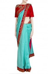 Indian Fashion Designers - Priti Sahni - Contemporary Indian Designer - Zari Border Sea Green Saree - PRS-SS17-PSS447