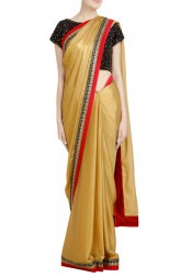 Indian Fashion Designers - Priti Sahni - Contemporary Indian Designer - Sequin Golden Shimmer Saree - PRS-SS17-PSS451