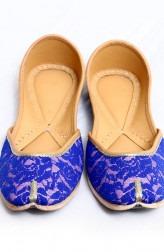 Indian Fashion Designers - Punjla - Contemporary Indian Designer - Blue Embroidered Jutti - PUJ-AW16-PUNJUT16012