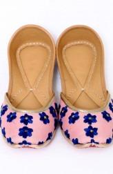 Indian Fashion Designers - Punjla - Contemporary Indian Designer - Pink and Blue Zardozi Jutti - PUJ-AW16-PUNJUT16017