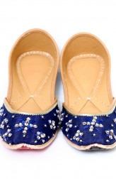Indian Fashion Designers - Punjla - Contemporary Indian Designer - Blue Coloured Stone Encrusted Jutti - PUJ-AW16-PUNJUT1607