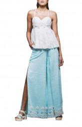Indian Fashion Designers - Pushpak Vimaan - Contemporary Indian Designer - White Linen Top Set - PV-SS16-PV-CL2-03