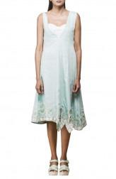Indian Fashion Designers - Pushpak Vimaan - Contemporary Indian Designer - Mint Green Linen Shift Dress  - PV-SS16-PV-CL2-07
