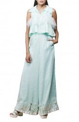 Indian Fashion Designers - Pushpak Vimaan - Contemporary Indian Designer - Mint Green Linen Crop Top Set - PV-SS16-PV-CL2-08