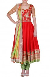 Indian Fashion Designers - Rang - Contemporary Indian Designer - Red Raw Silk Anarkali - RNG-AW16-1-129