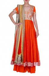 Indian Fashion Designers - Rang - Contemporary Indian Designer - Lovely Orange Anarkali - RNG-AW16-1-132