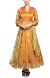 Indian Fashion Designers - Rang - Contemporary Indian Designer - Rust Silk Brocade Anarkali - RNG-AW16-1-139
