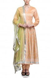 Indian Fashion Designers - Rang - Contemporary Indian Designer - Peach Chanderi Anarkali - RNG-AW16-1-140
