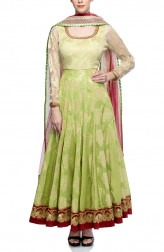 Indian Fashion Designers - Rang - Contemporary Indian Designer - Green Silk Anarkali - RNG-AW16-1-141