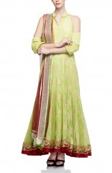 Indian Fashion Designers - Rang - Contemporary Indian Designer - Cold Shoulder Anarkali - RNG-AW16-1-142